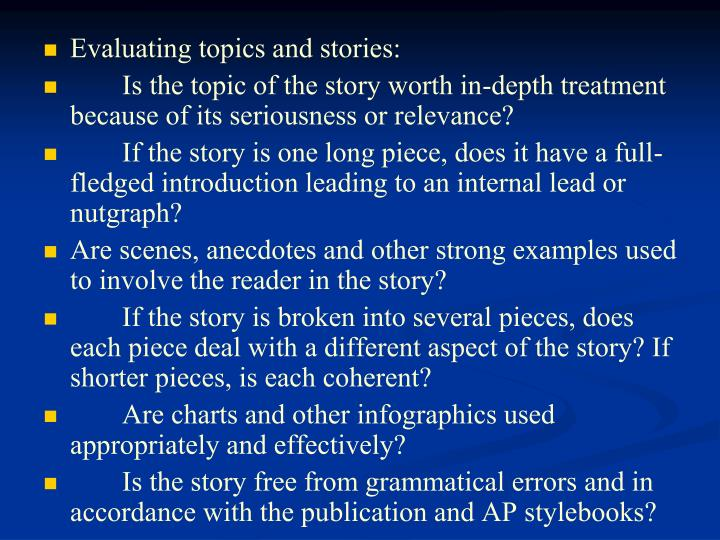 Evaluating topics and stories: