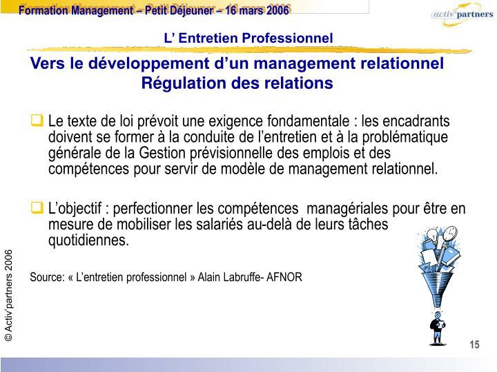 Vers le développement d'un management relationnel
