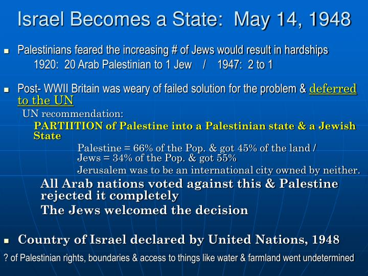 Israel Becomes a State:  May 14, 1948