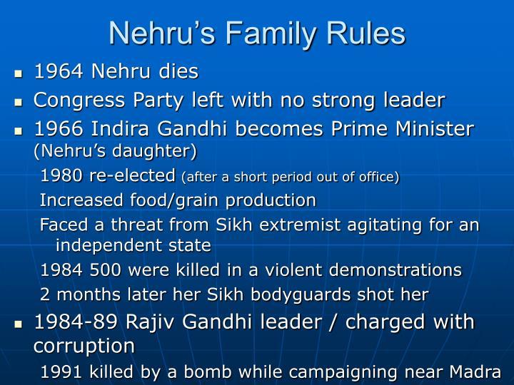 Nehru's Family Rules