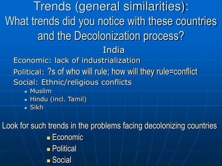 Trends (general similarities):