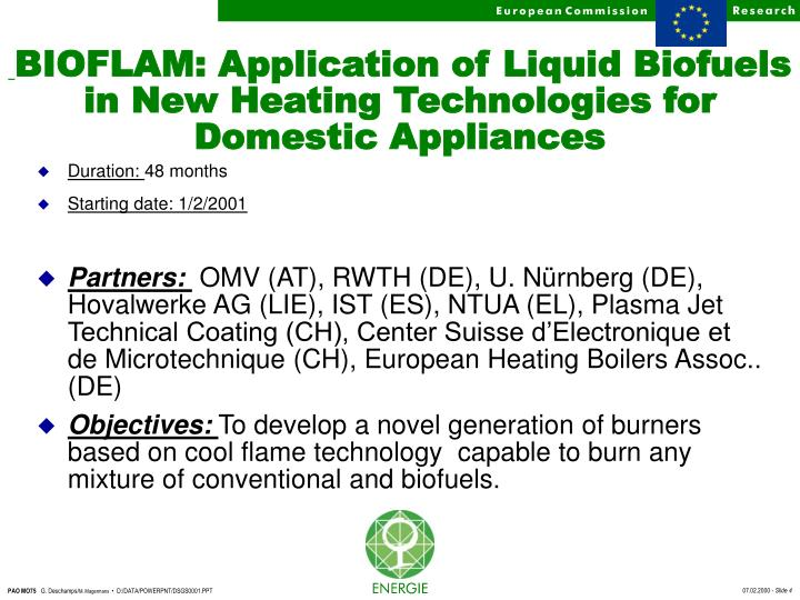 BIOFLAM: Application of Liquid Biofuels in New Heating Technologies for Domestic Appliances