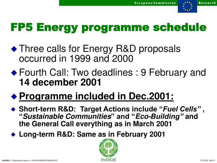 FP5 Energy programme schedule