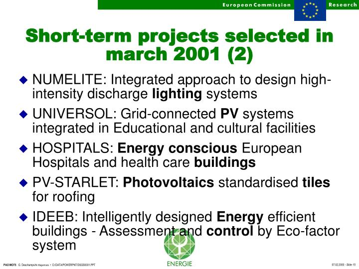 Short-term projects selected in march 2001 (2)