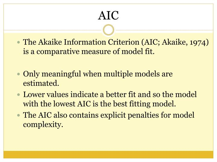 The Akaike Information Criterion (AIC; Akaike, 1974) is a comparative measure of model fit.