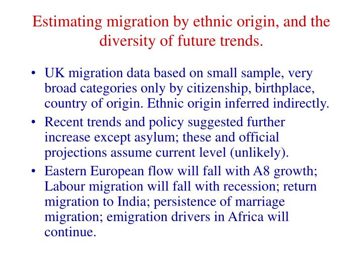 Estimating migration by ethnic origin, and the diversity of future trends.