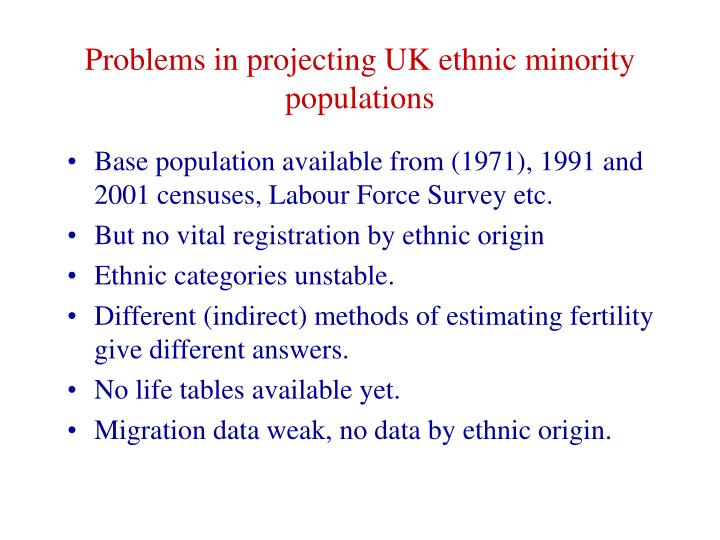 Problems in projecting UK ethnic minority populations