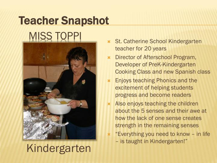 St. Catherine School Kindergarten teacher for 20 years