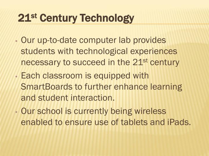 Our up-to-date computer lab provides students with technological experiences necessary to succeed in the 21