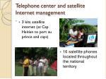 telephone center and satellite internet management