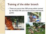 training of the elder branch