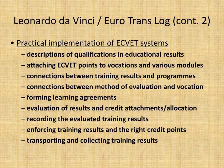 Leonardo da Vinci / Euro Trans Log (cont. 2)