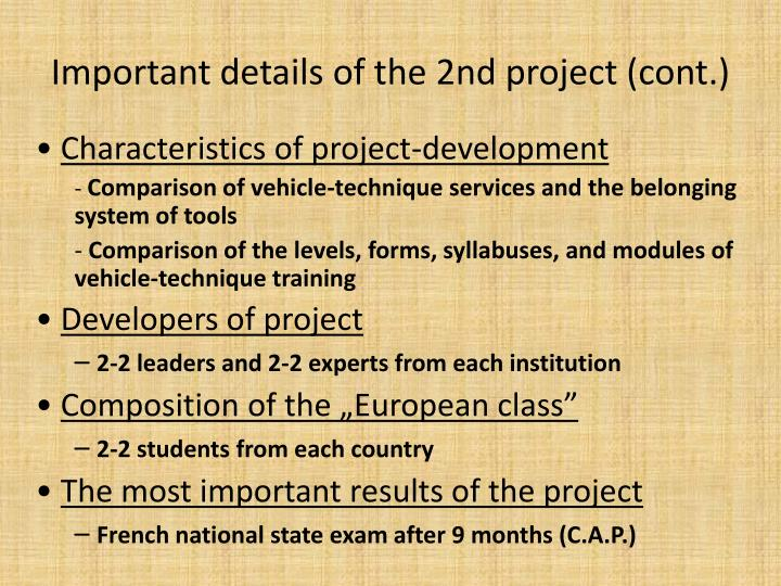 Important details of the 2nd project (cont.)