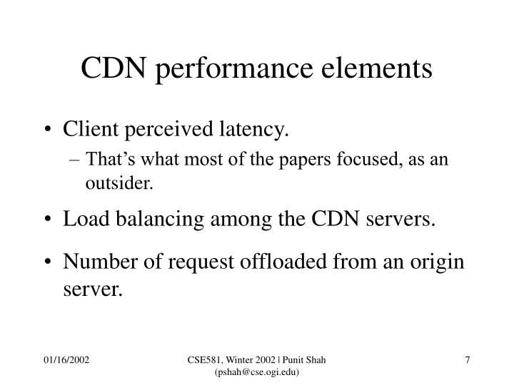 CDN performance elements