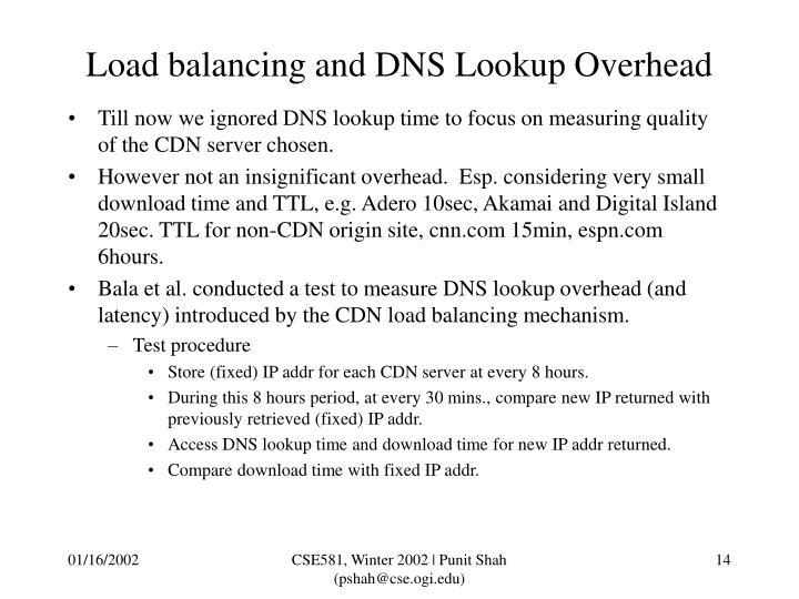 Load balancing and DNS Lookup Overhead