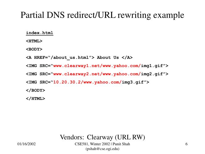 Partial DNS redirect/URL rewriting example