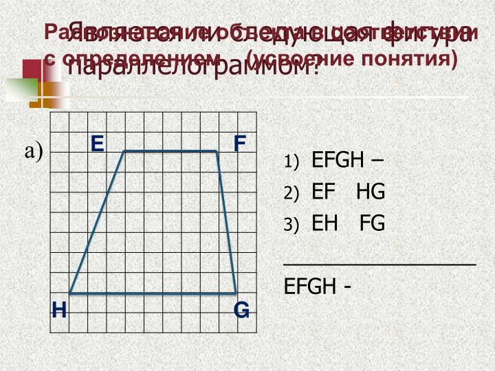 Является ли следующая фигура параллелограммом?