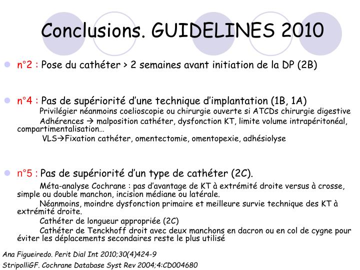 Conclusions. GUIDELINES 2010