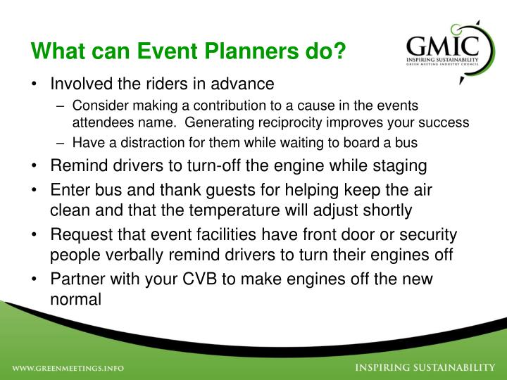 What can Event Planners do?