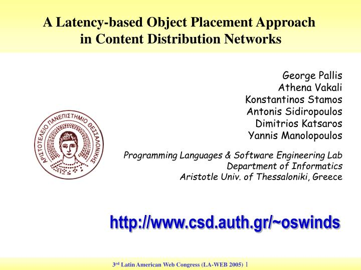 A Latency-based Object Placement Approach
