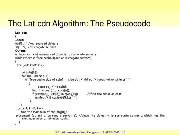 The Lat-cdn Algorithm: The Pseudocode