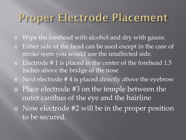 Proper electrode placement