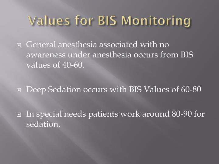 Values for BIS Monitoring