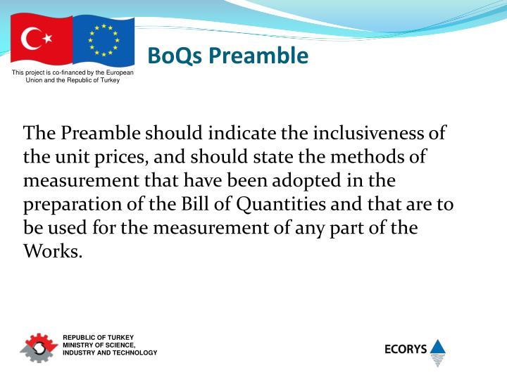 BoQs Preamble