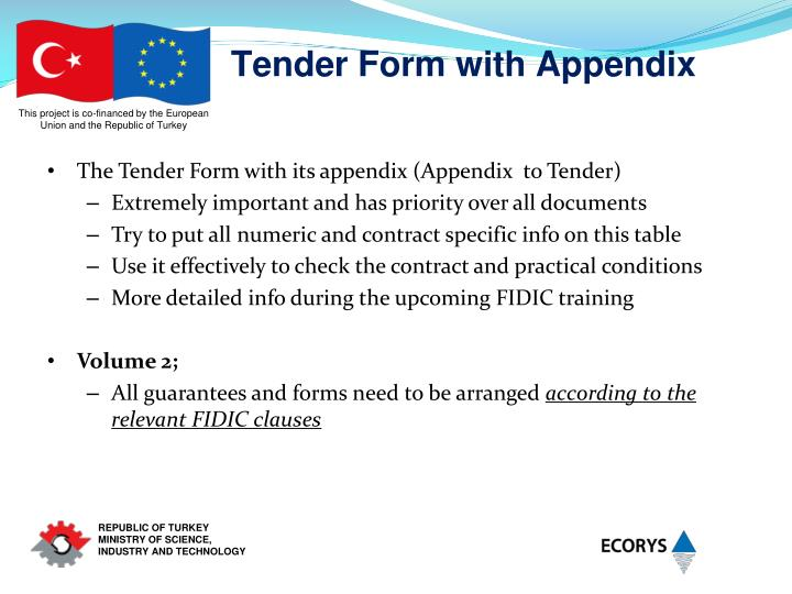 Tender Form with Appendix