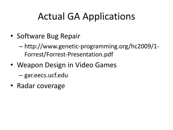 Actual GA Applications
