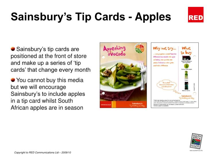Sainsbury s tip cards apples