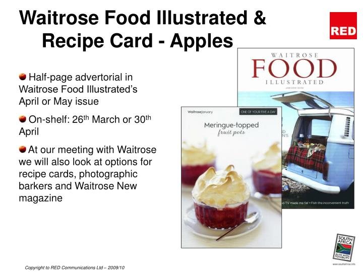Waitrose Food Illustrated & Recipe Card - Apples
