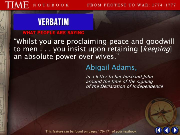 """Whilst you are proclaiming peace and goodwill to men . . . you insist upon retaining ["