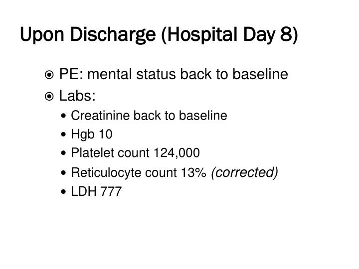 Upon Discharge (Hospital