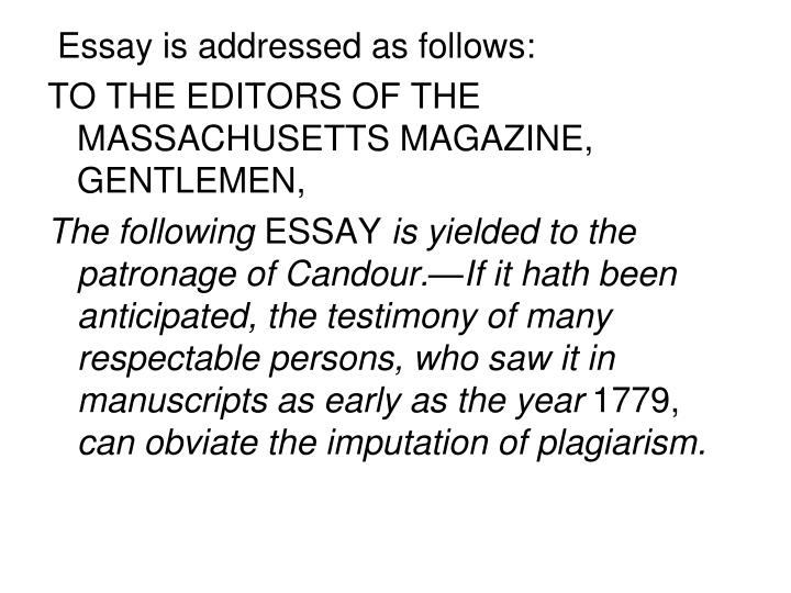 Essay is addressed as follows: