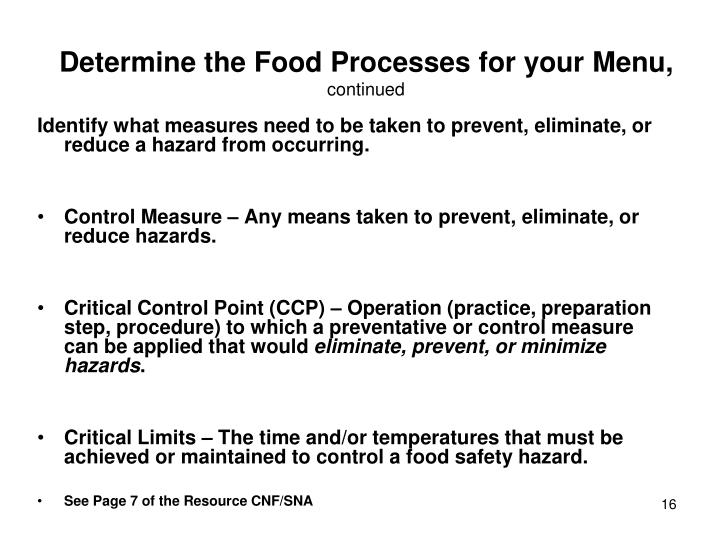 Determine the Food Processes for your Menu,