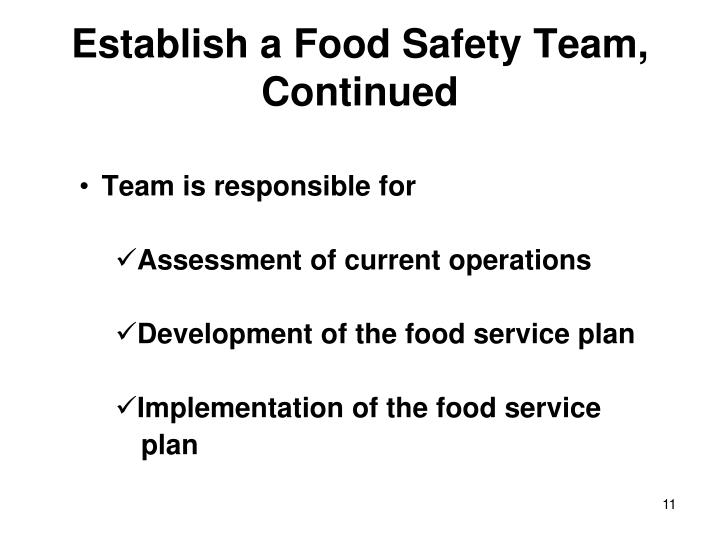 Establish a Food Safety Team,