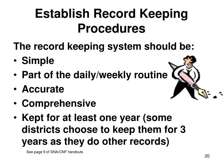 Establish Record Keeping Procedures