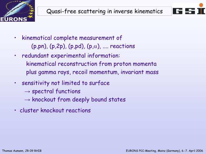 Quasi-free scattering in inverse kinematics