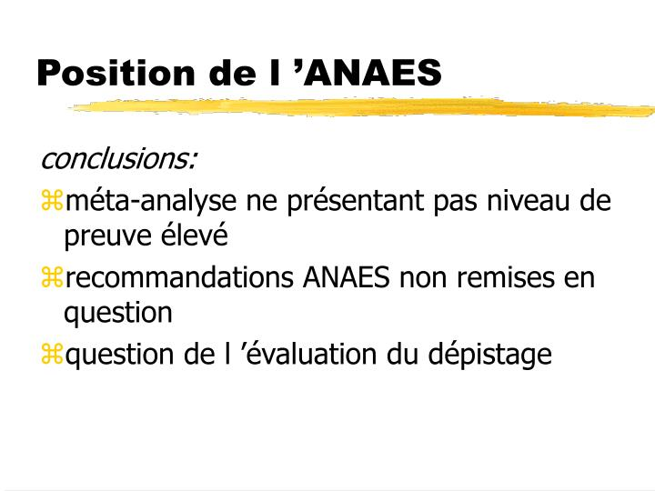 Position de l 'ANAES