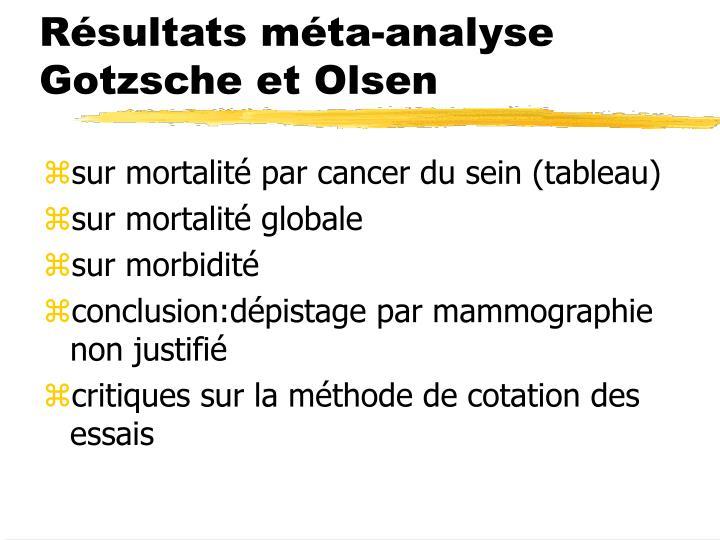Résultats méta-analyse Gotzsche et Olsen