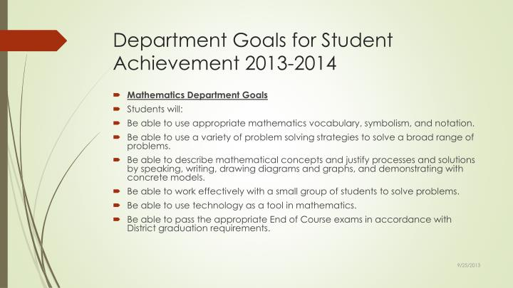 Department Goals for Student Achievement 2013-2014