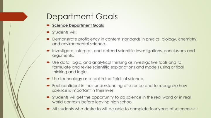 Department Goals