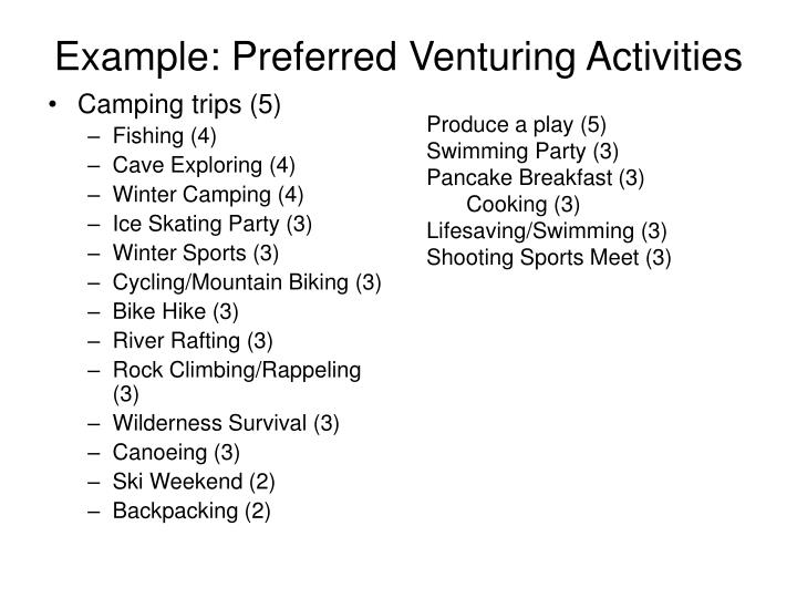 Example: Preferred Venturing Activities