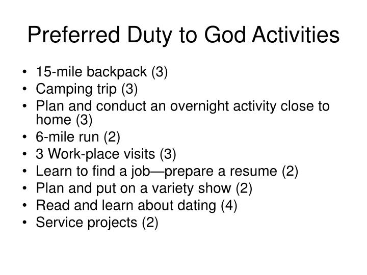 Preferred Duty to God Activities