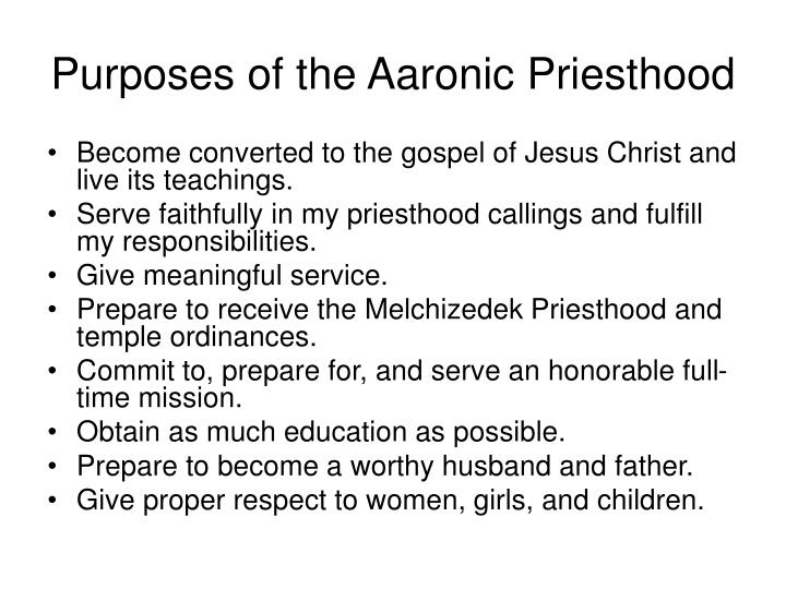 Purposes of the Aaronic Priesthood