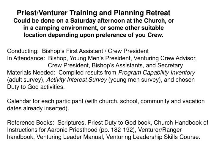 Priest/Venturer Training and Planning Retreat