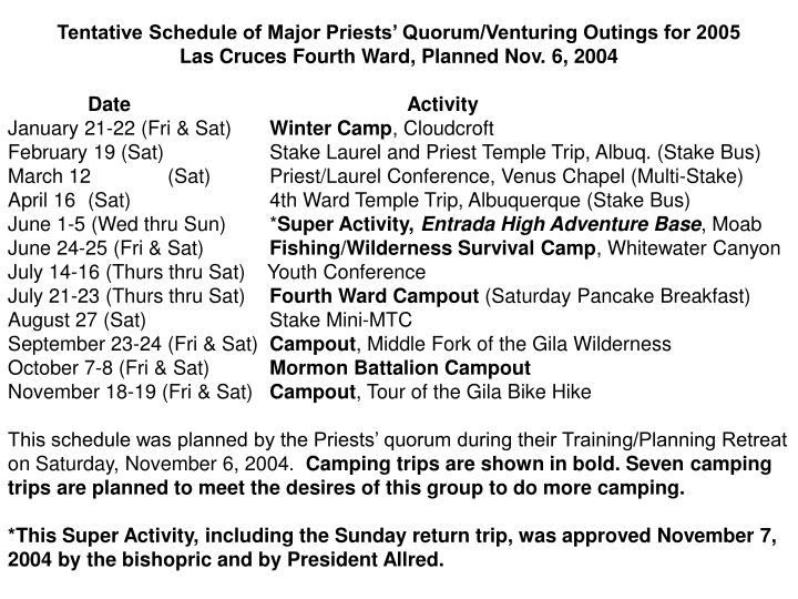 Tentative Schedule of Major Priests' Quorum/Venturing Outings for 2005