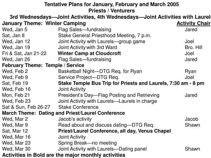 Tentative Plans for January, February and March 2005