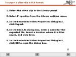 to export a video clip in flv format